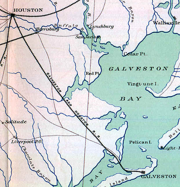 Galveston Houston Henderson Railroad Map