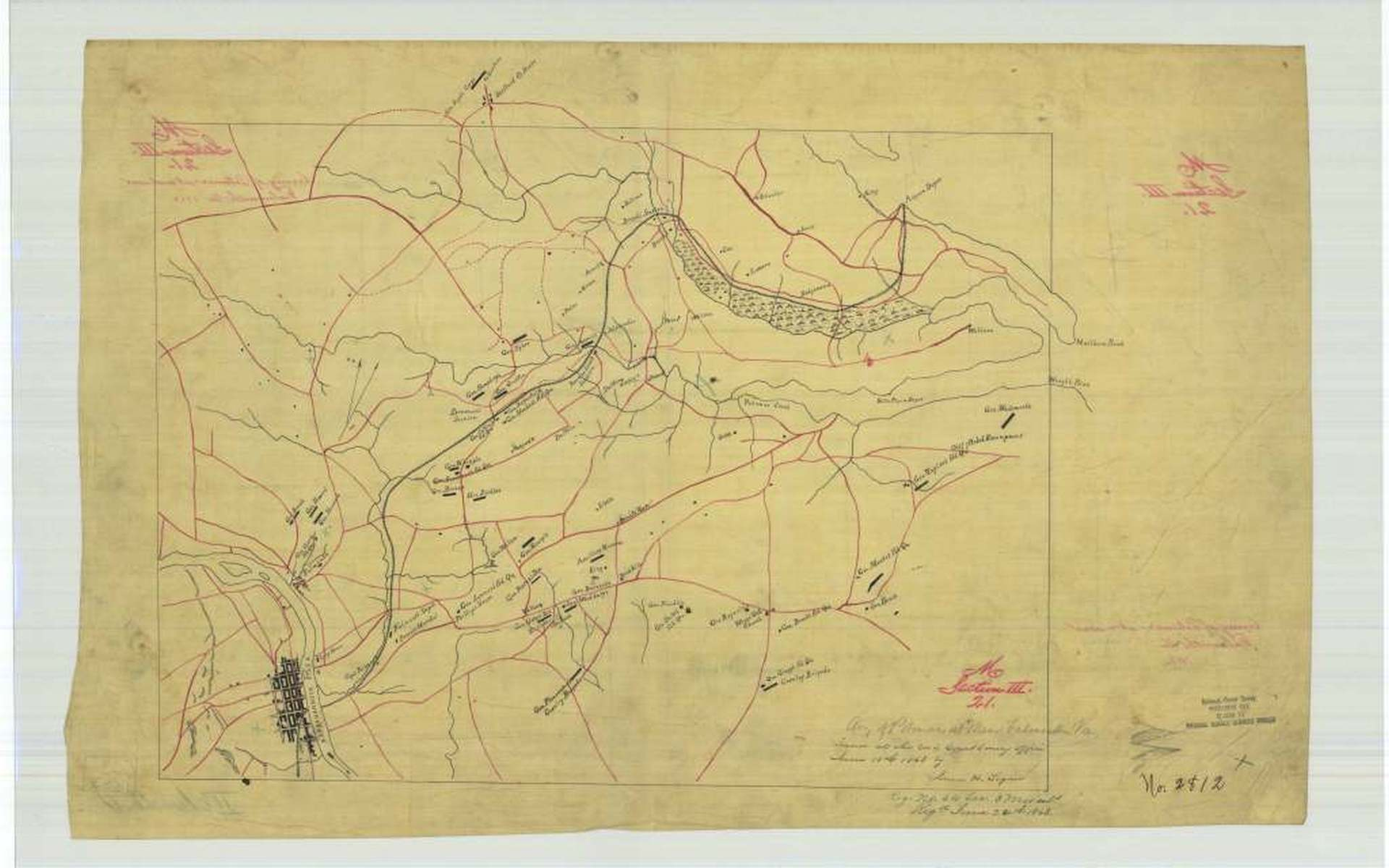 A Union Map Of The Section From Fredericksburg To Acquia Wharf The Iron Was Union But The Route And Road Bed Were Pre War The Confederacy Removed The