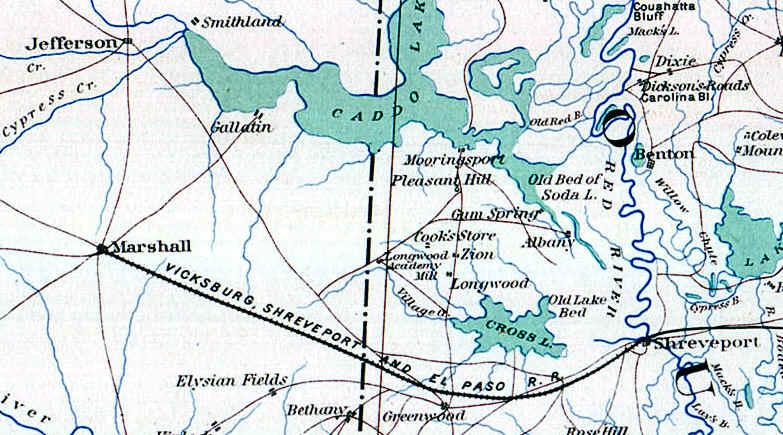 Map Of Texas Railroads.Vicksburg Shreveport Texas Railroad Map Western